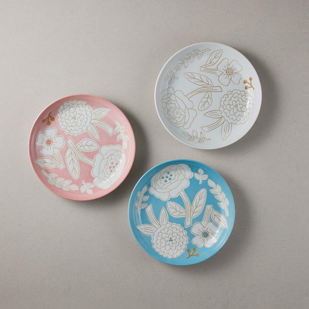 日本小倉陶器|粉染花朵盤 - 3件組 (19.5cm)