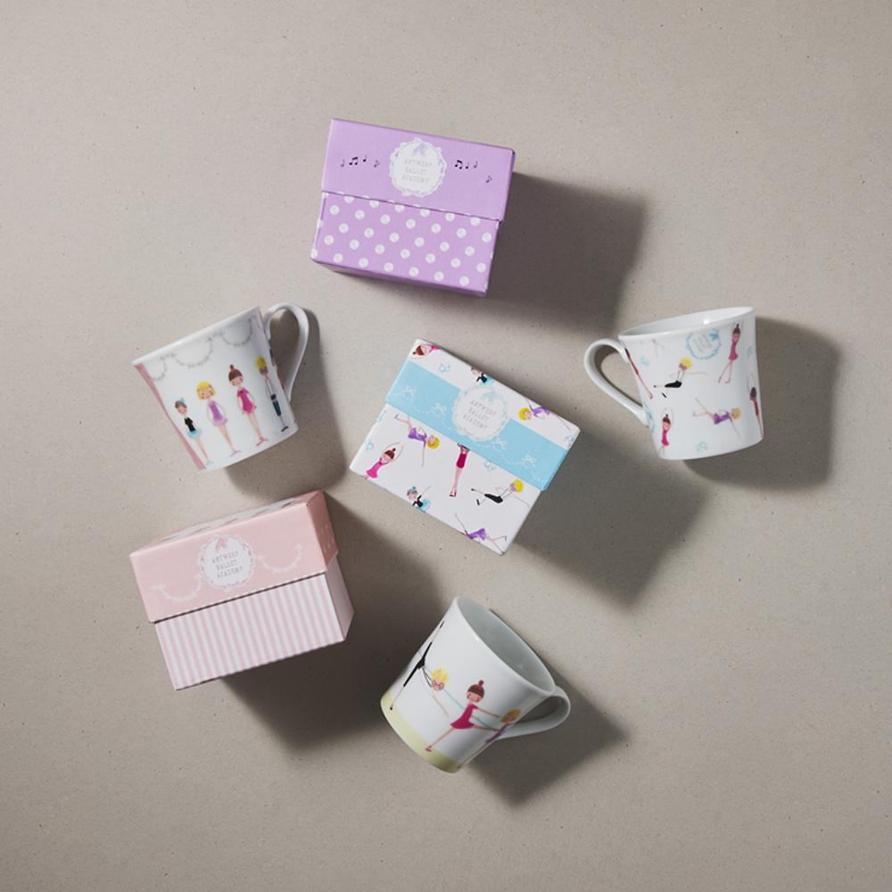 日本小倉陶器 芭蕾舞精裝馬克杯 - 3件組 (300ml)