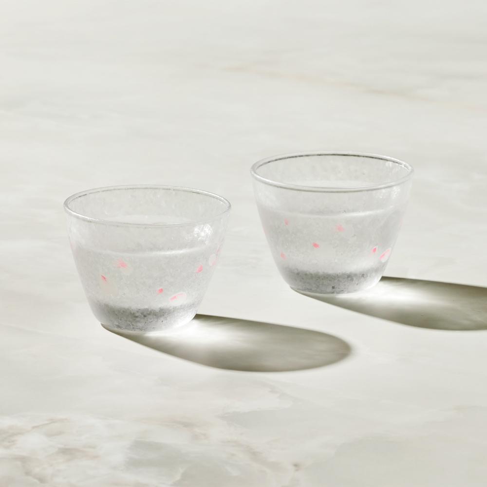 日本富硝子|變色霧面小酌杯 - 櫻吹雪 - 雙件組 (90ml)