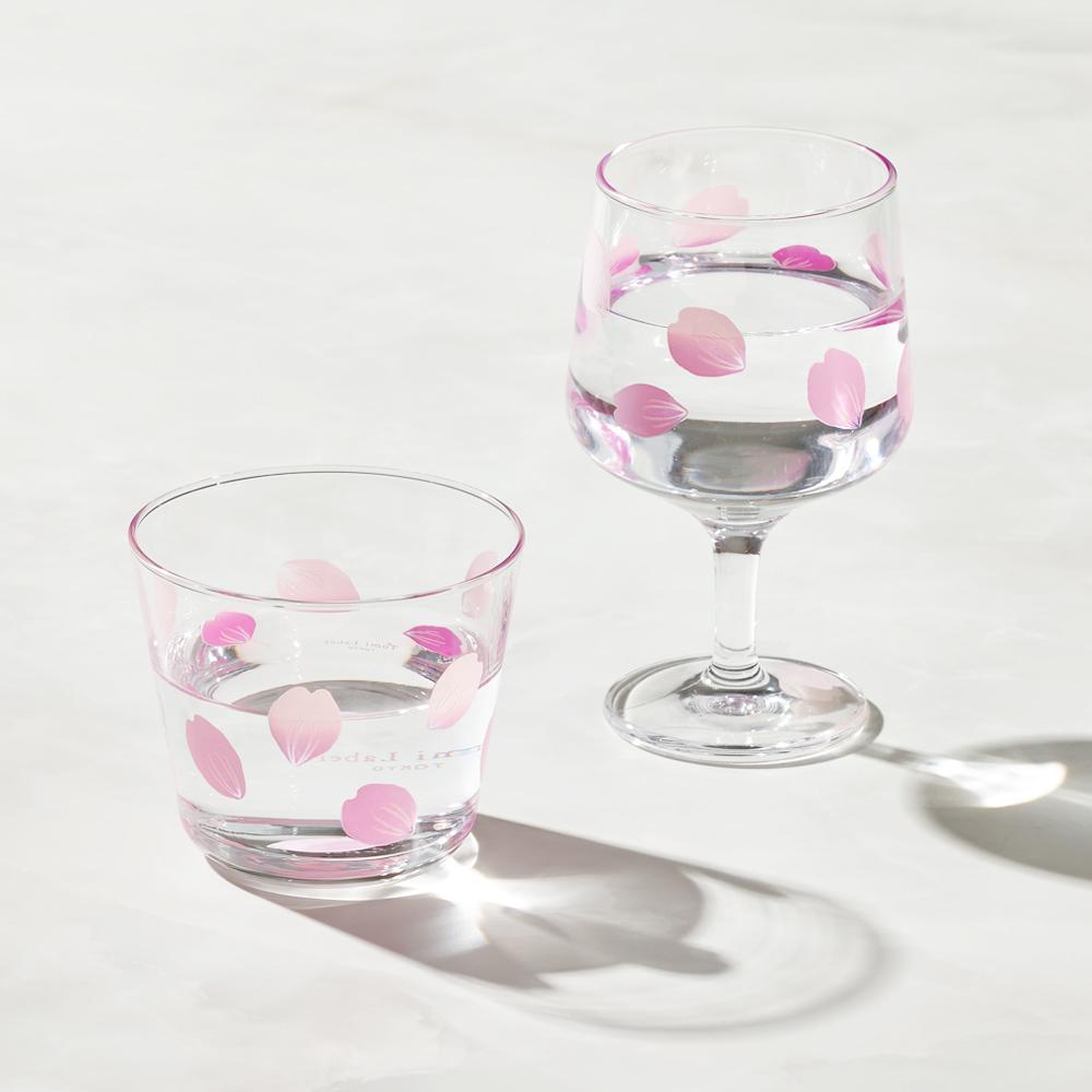 日本富硝子|變色自由杯 + 短腳酒杯 - 吉野櫻花雨 - 雙件組 (220ml)