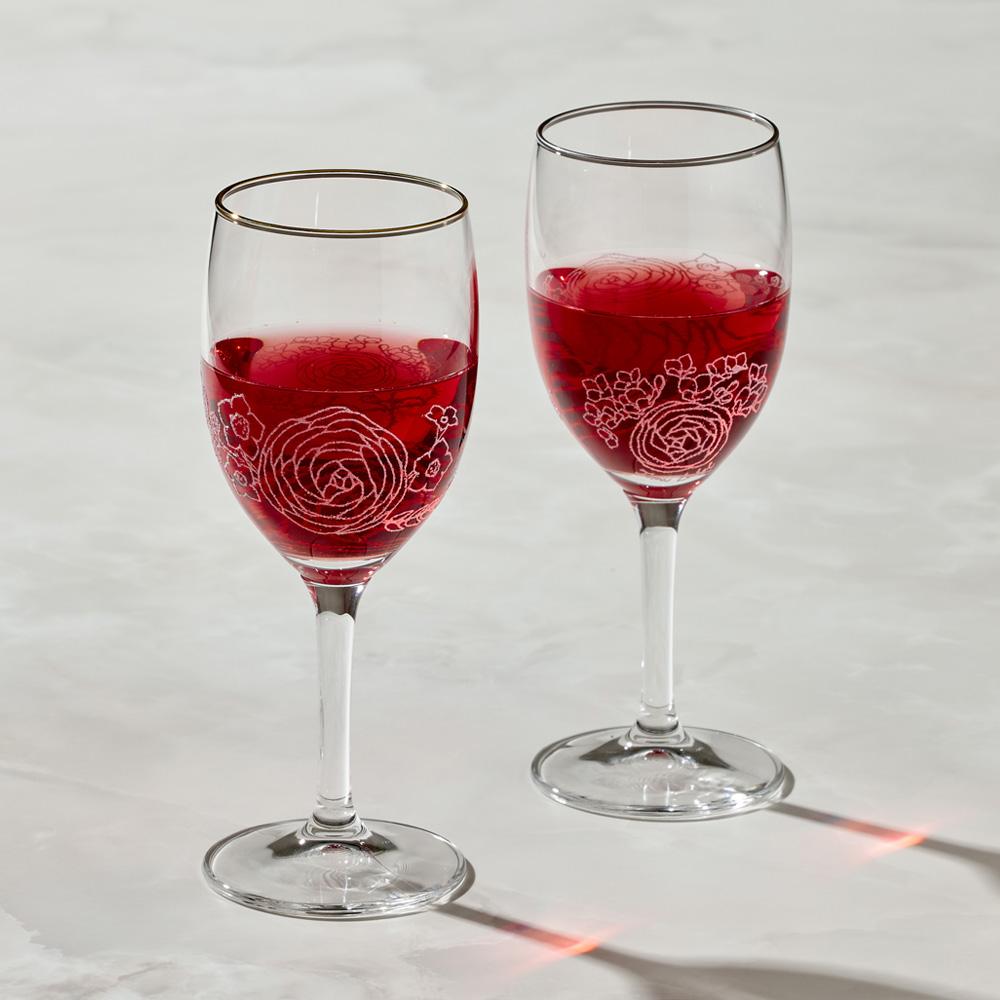 日本富硝子|蕾絲葡萄酒杯 - 綻放鉑金對杯組 (2件式) - 禮盒組 (250ml)