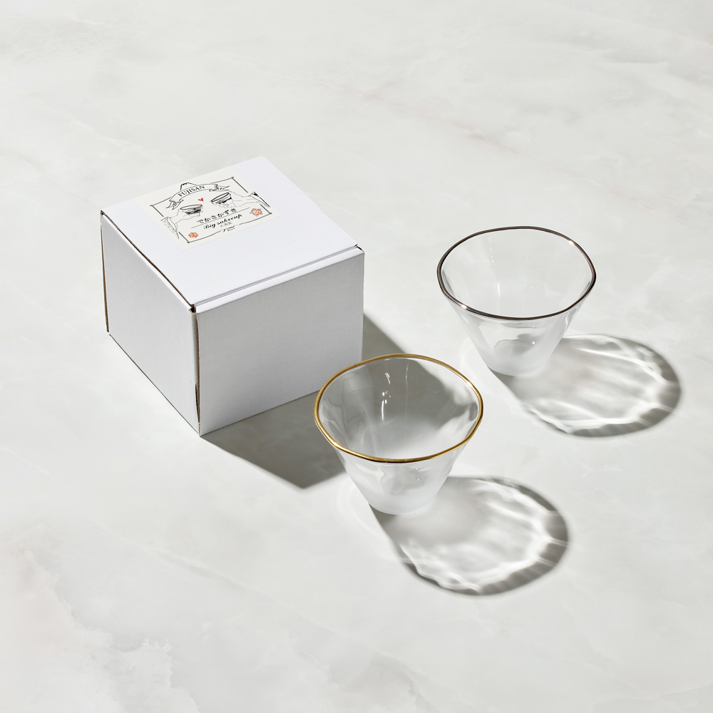 日本富硝子|富士山大清酒杯 - 鉑金對杯組 (2件式) - 禮盒組 (180ml)