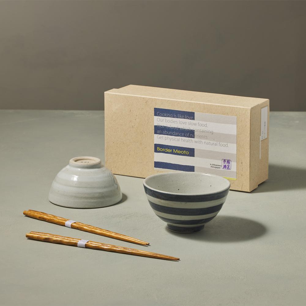 日本KOYO美濃燒|線條夫妻碗禮盒組 - 附筷(4件式)