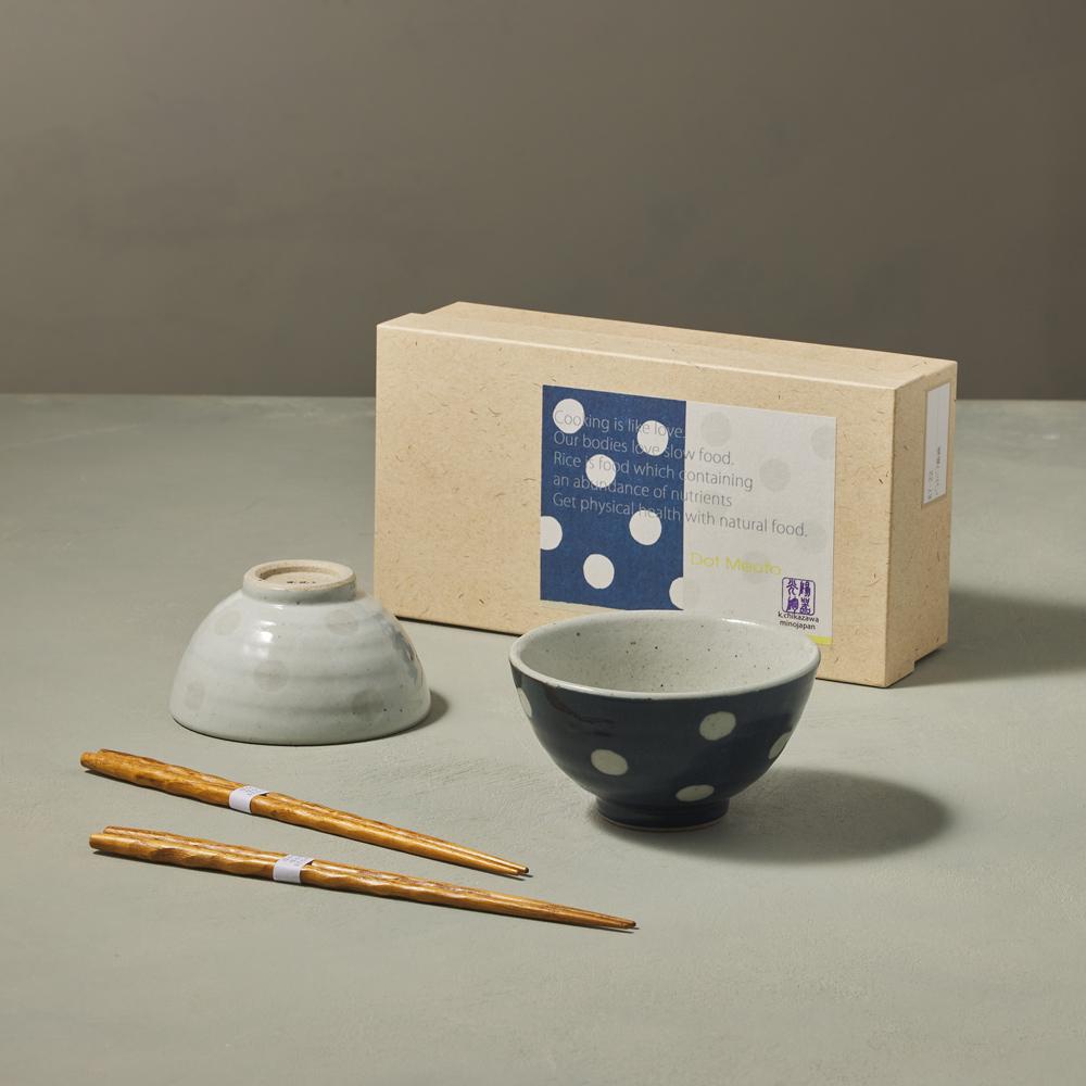 日本KOYO美濃燒|水玉夫妻碗禮盒組 - 附筷(4件式)