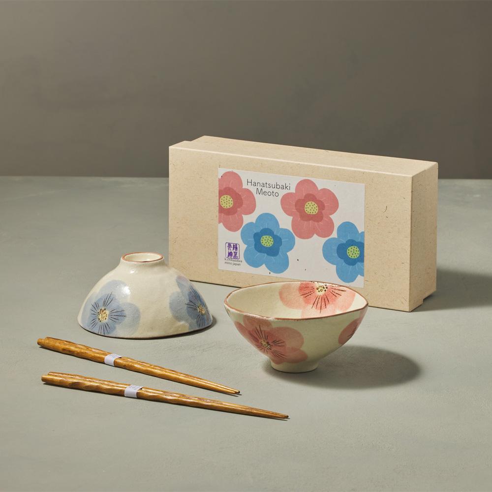 日本KOYO美濃燒|茶花對碗禮盒組 - 附筷(4件式)