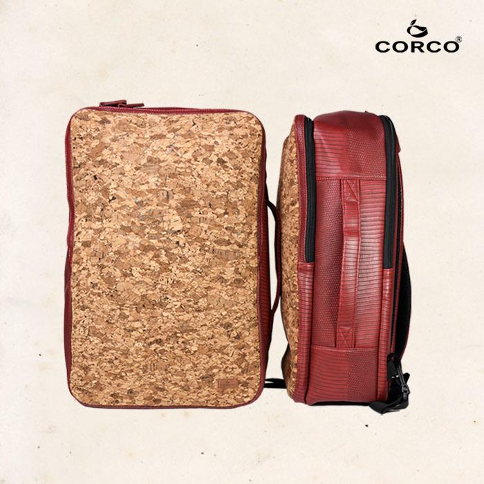 CORCO|軟木雙肩兩用後背包 - 棗紅