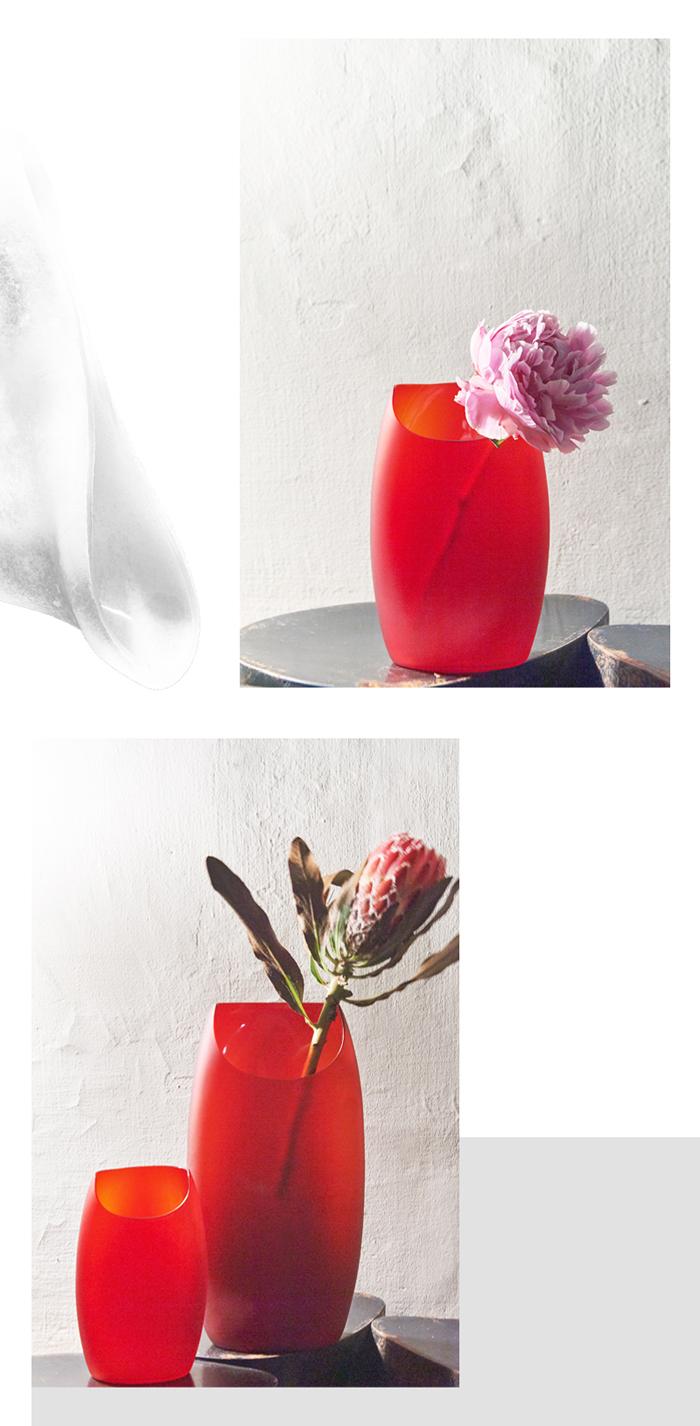 (複製)3,co|玻璃月型口扁平花器(8號) - 白