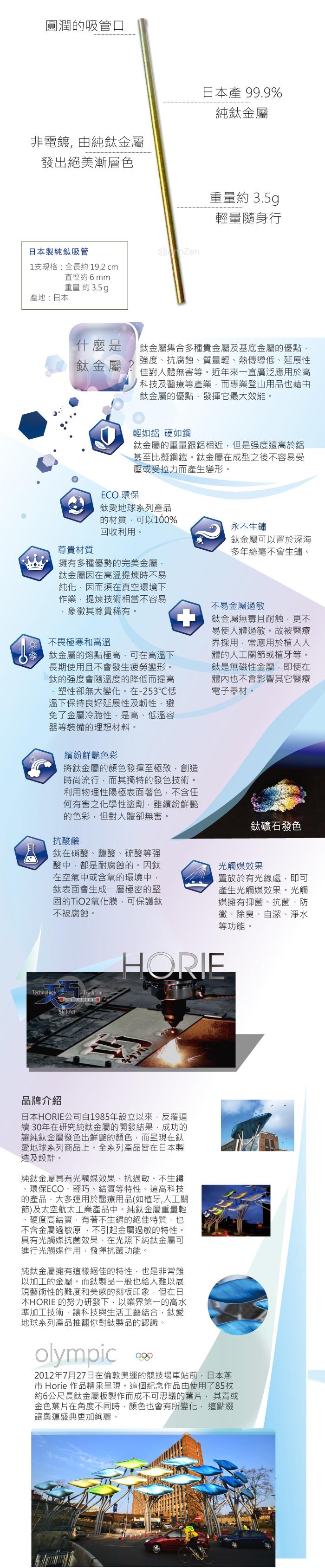 (複製)日本HORIE 純鈦ECO環保吸管-青湛藍