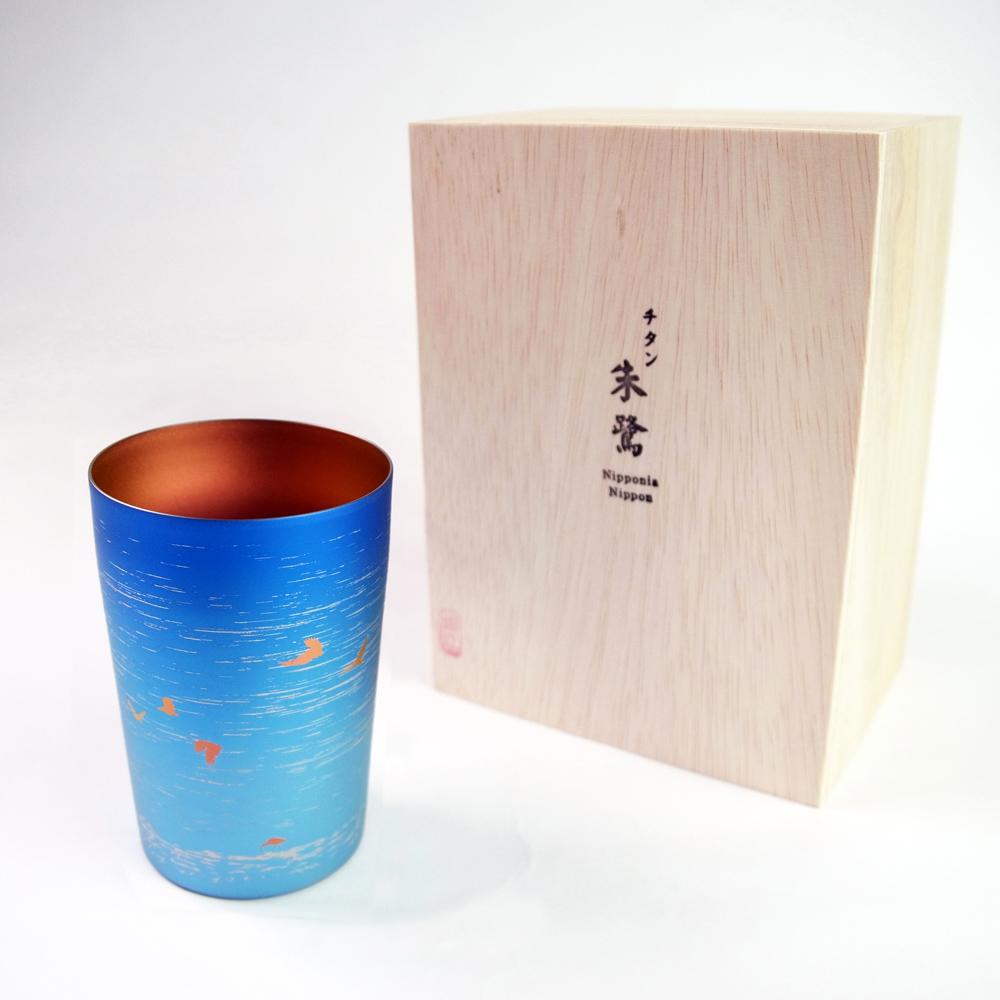 日本HORIE|鈦愛生活系列-日本製 純鈦抗菌朱鷺 雙層啤酒杯(藍色)-新潟限定款
