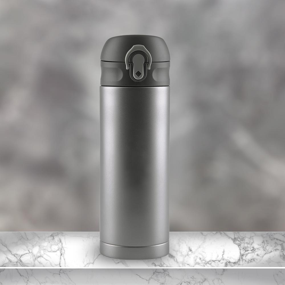 Ti-living|純鈦抗菌真空保溫隨手杯380ml(彈蓋茶濾杯-灰)