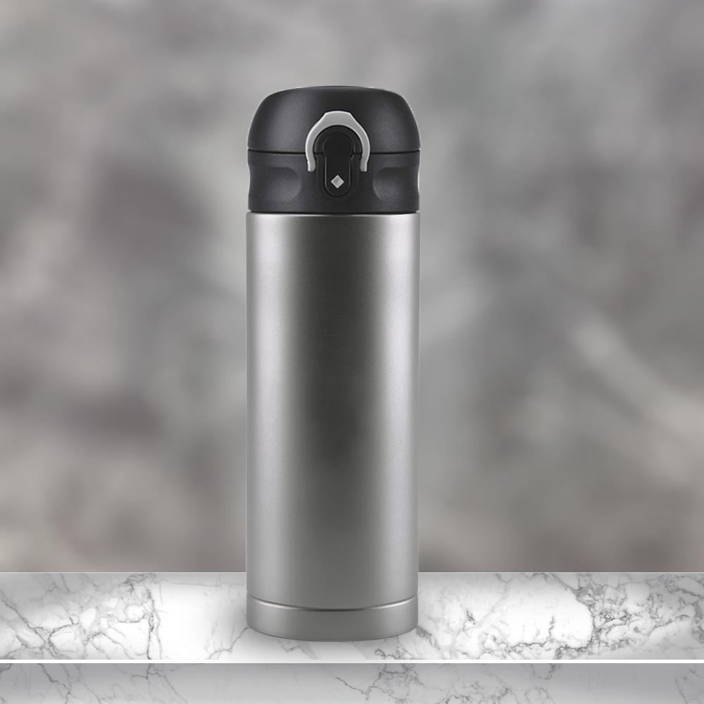 Ti-living|純鈦抗菌真空保溫隨手杯380ml(彈蓋茶濾杯-黑)