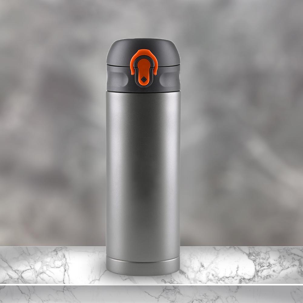 Ti-living|純鈦抗菌真空保溫隨手杯380ml(彈蓋茶濾杯-橘)