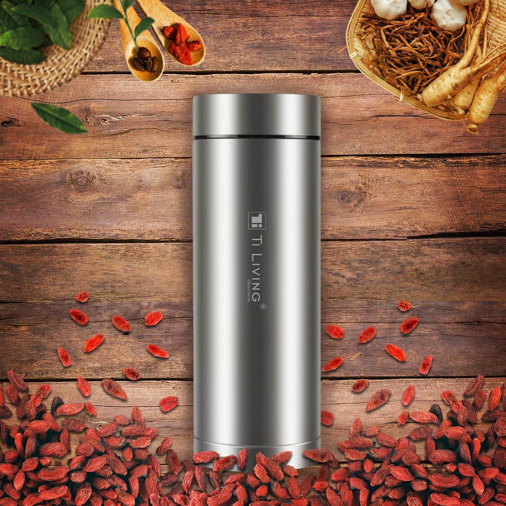 Ti-living|純鈦抗菌真空保溫-養身泡茶杯-茶濾網 400ml