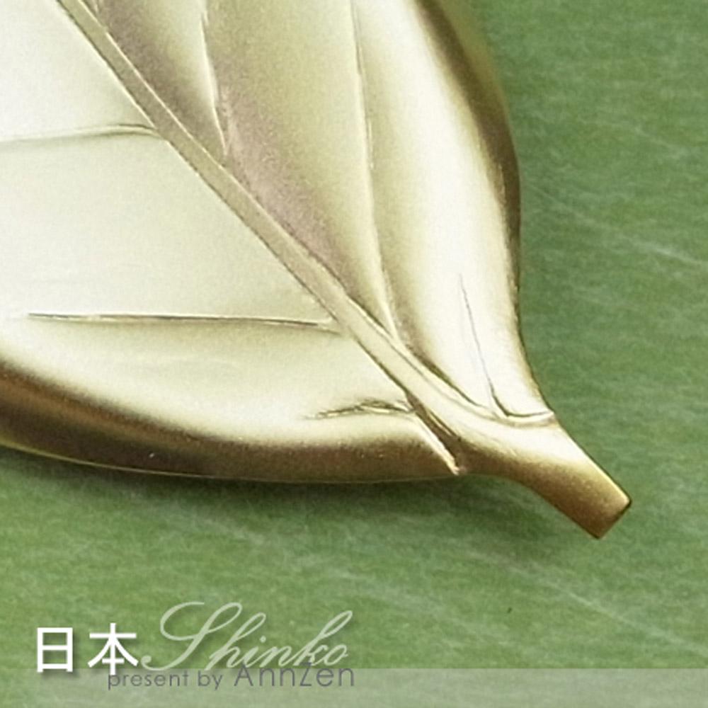 日本Shinko 日本製 設計師系列-作用 金木犀葉片筷架 -金色
