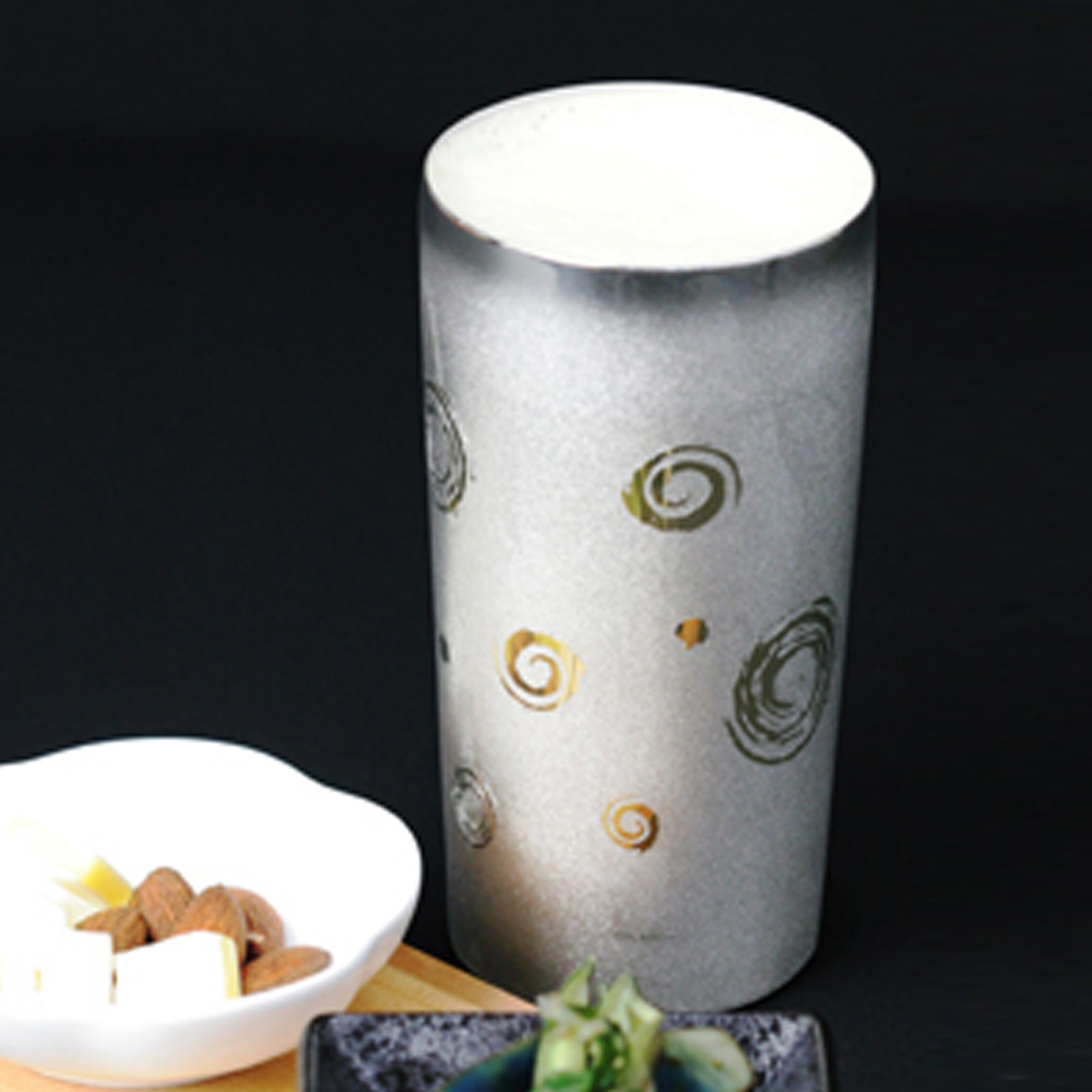 日本HORIE|鈦愛生活系列-日本製 純鈦抗菌極致雙層杯-渦卷 350ml