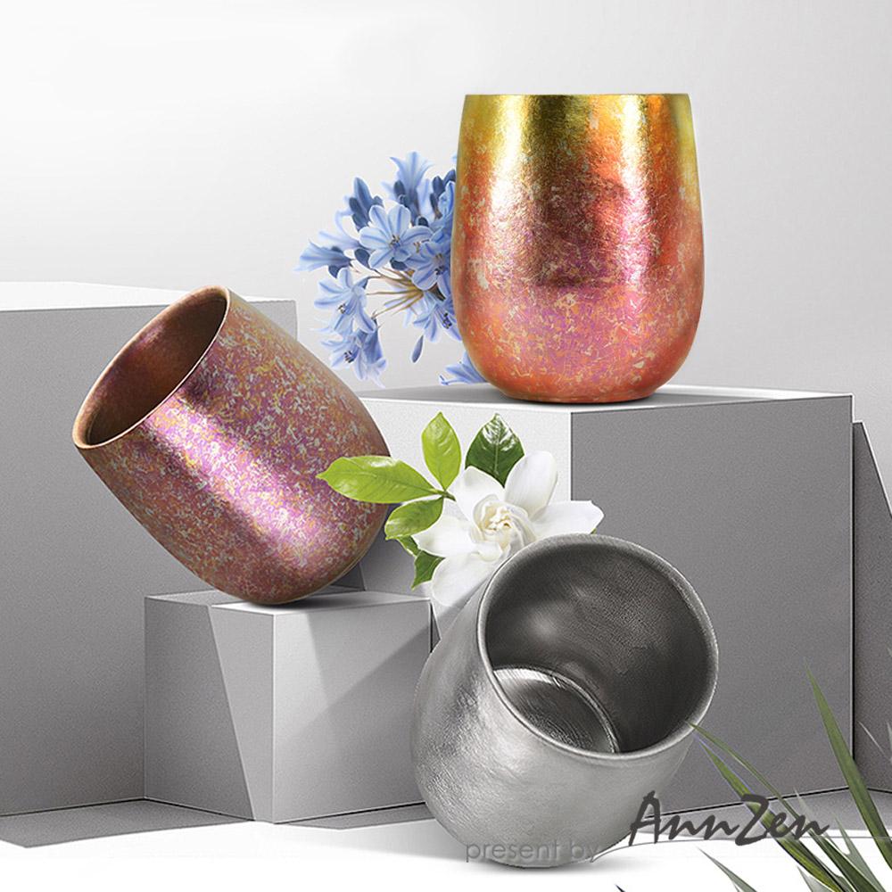 Ti-living 純鈦抗菌雙層杯-鎏金粉