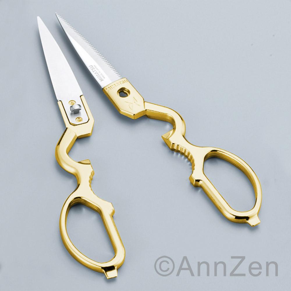 日本 金鹿MIMATSU|廚房萬用可拆式剪刀-金色