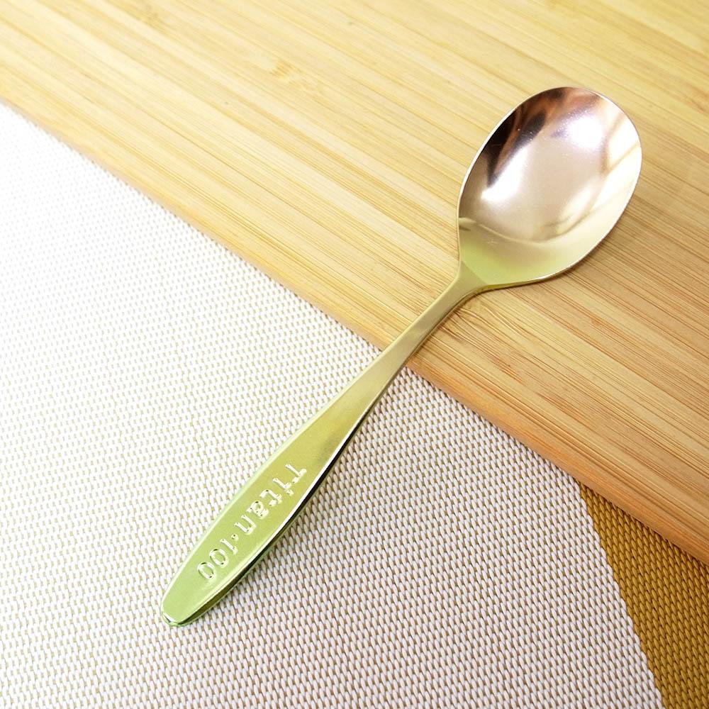 日本HORIE 鈦愛寶貝系列- 日本製 純鈦抗菌ECO環保 幼兒匙(粉金)