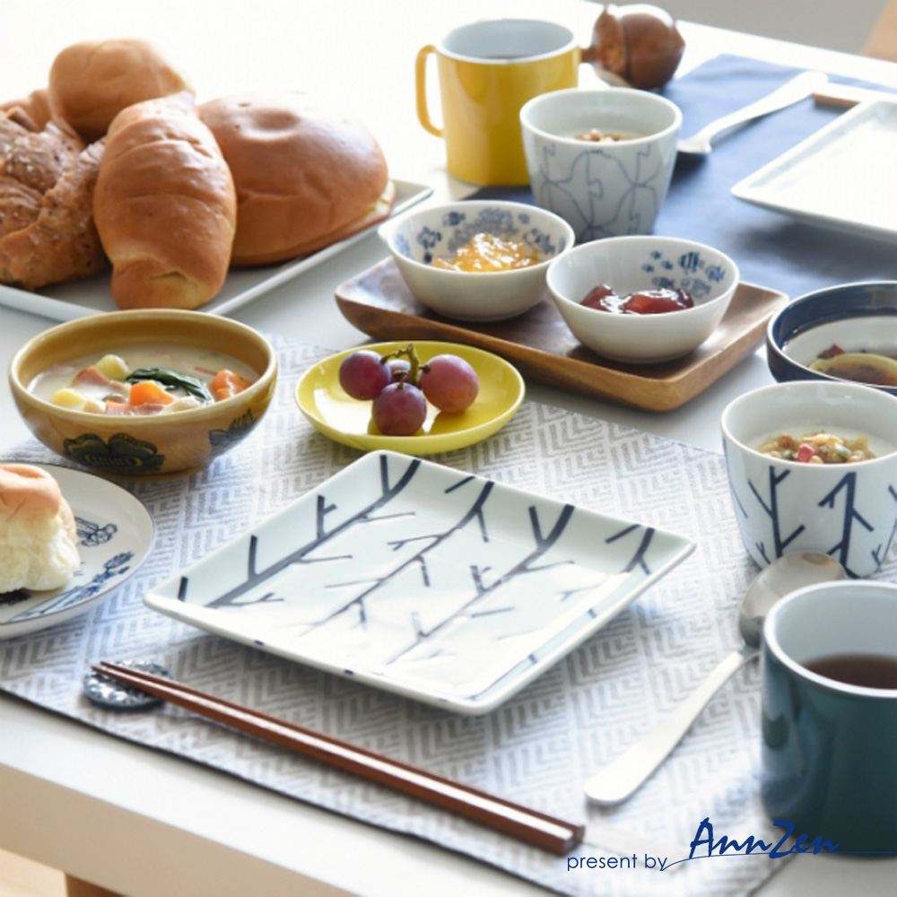natural 69|日本波佐見燒 日式正角皿盤-繡紋