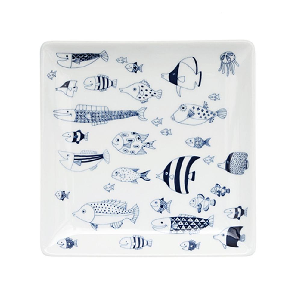 natural 69|日本波佐見燒 日式正角皿盤-魚群