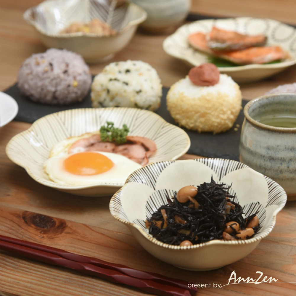 natural 69|日本波佐見燒 日式六方押小缽盤-花