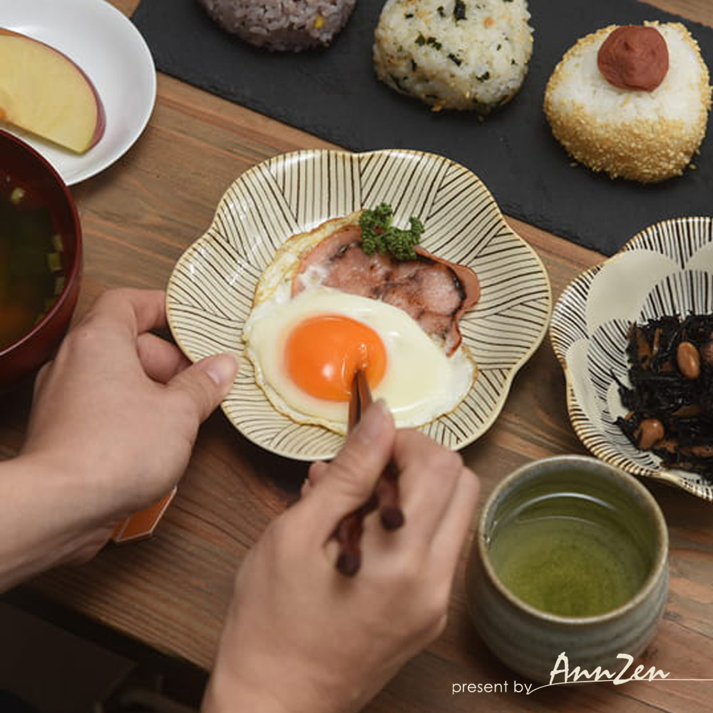 natural 69|日本波佐見燒 日式六方押取皿盤-花