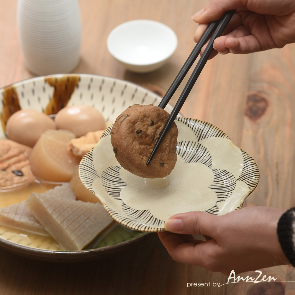 natural 69|日本波佐見燒 日式六方押取皿盤-圓