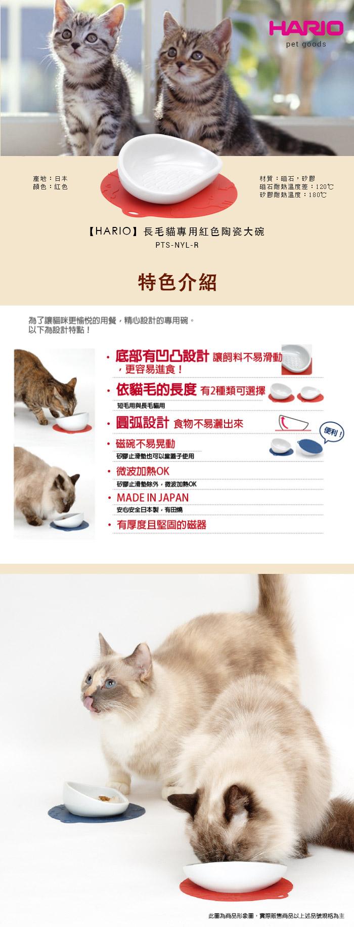 HARIO  長毛貓專用藍色陶瓷大碗  PTS-NYL-DBU