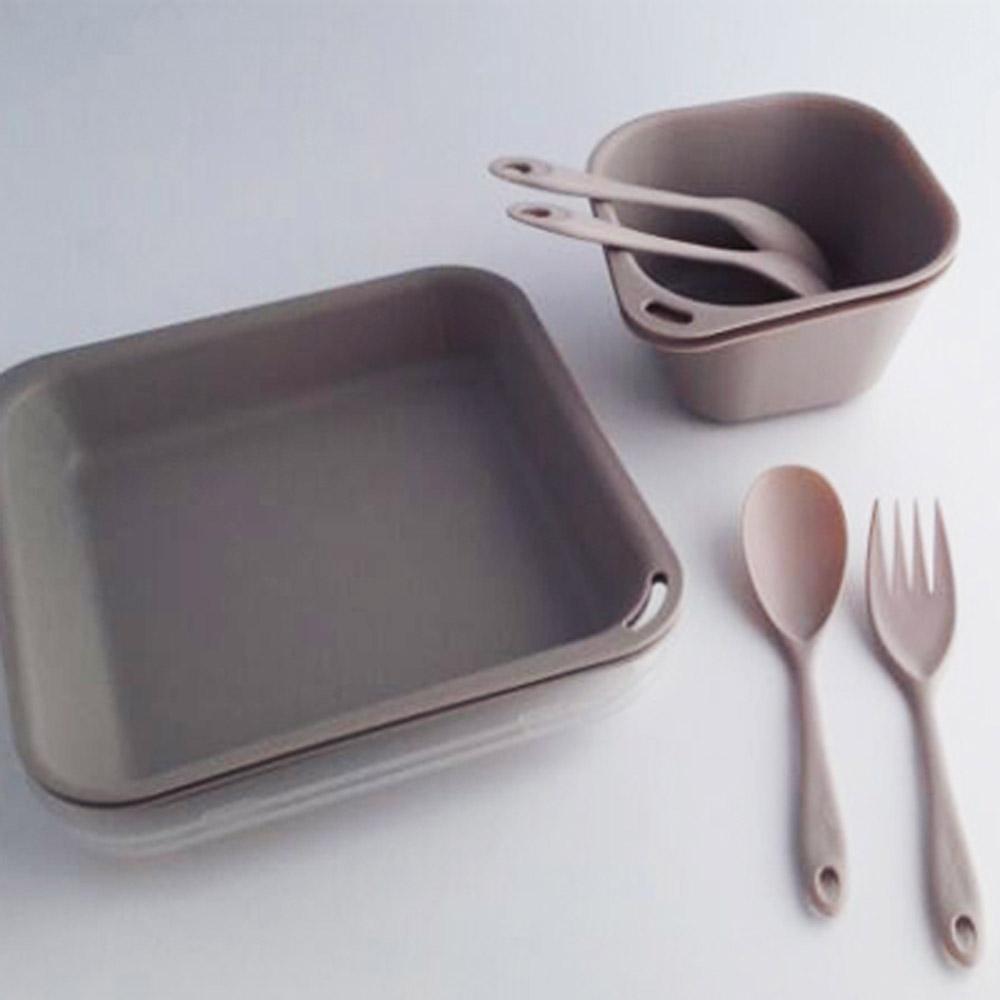 Truvii|卡其色抗菌餐具組( 附網袋 )
