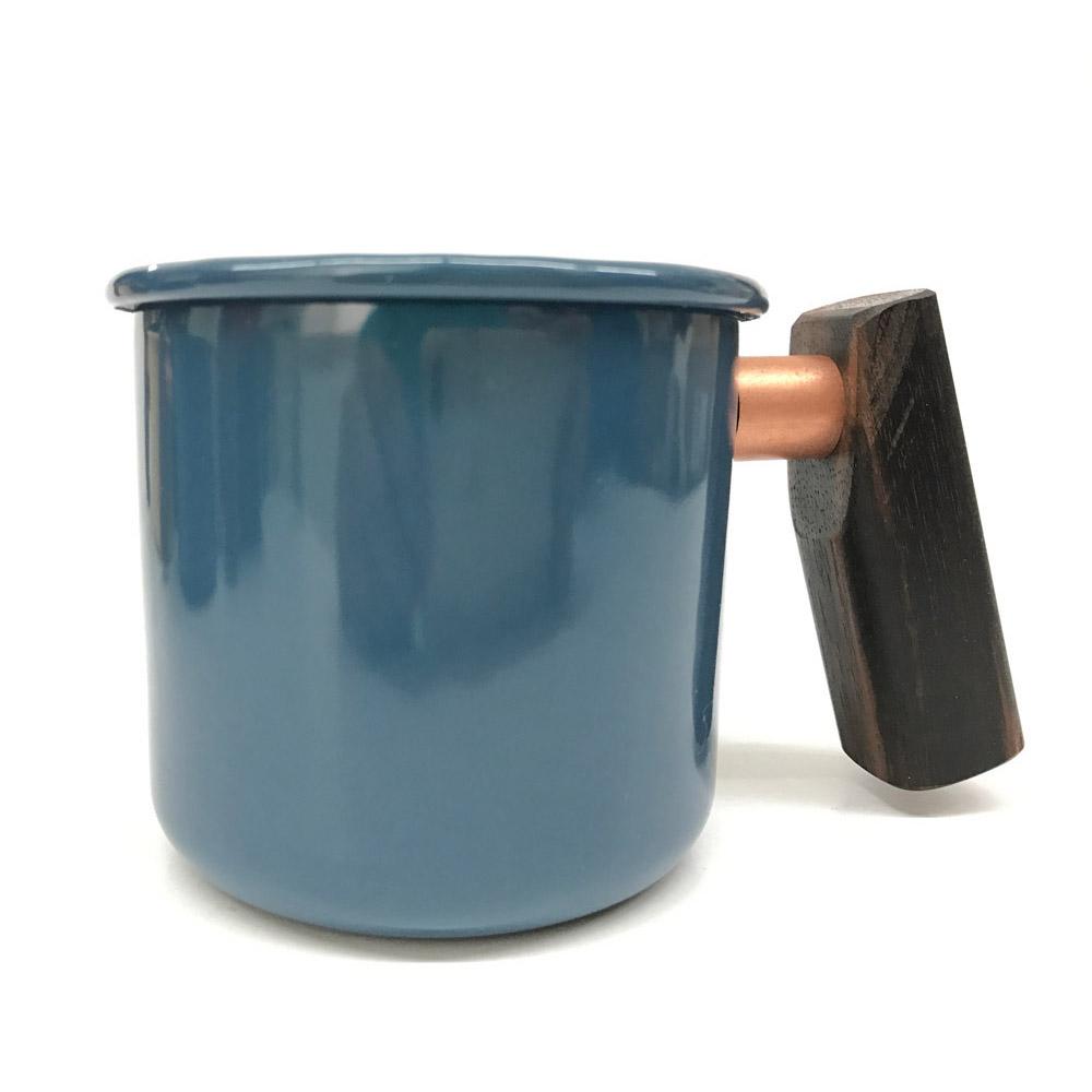 Truvii 波斯藍黑檀木柄琺瑯杯 400ml