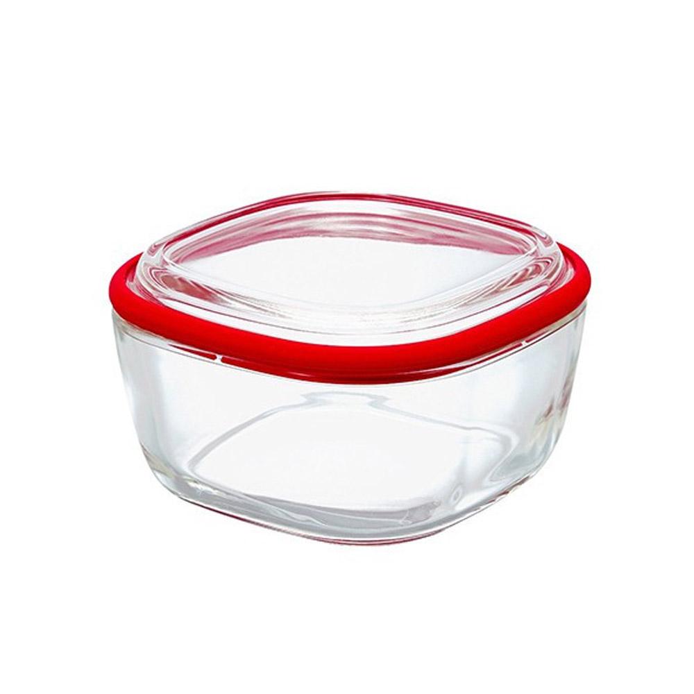 HARIO|Range ware紅色方形耐熱玻璃保鮮盒M / CWK-M-R