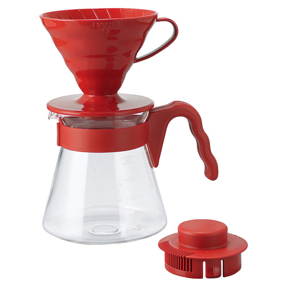 HARIO|V60紅色濾泡咖啡壺組1~4杯 700ml VCSD-02R