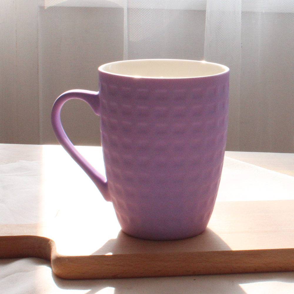 COFESH 格紋半手作葡萄紫馬克杯350ml MUL-35-PP