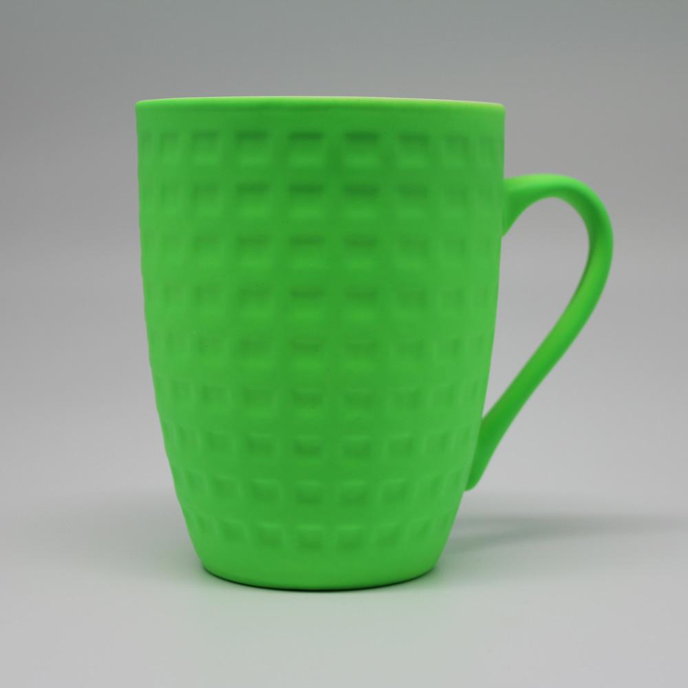 COFESH|格紋半手作香草綠馬克杯350ml MUL-35-GN