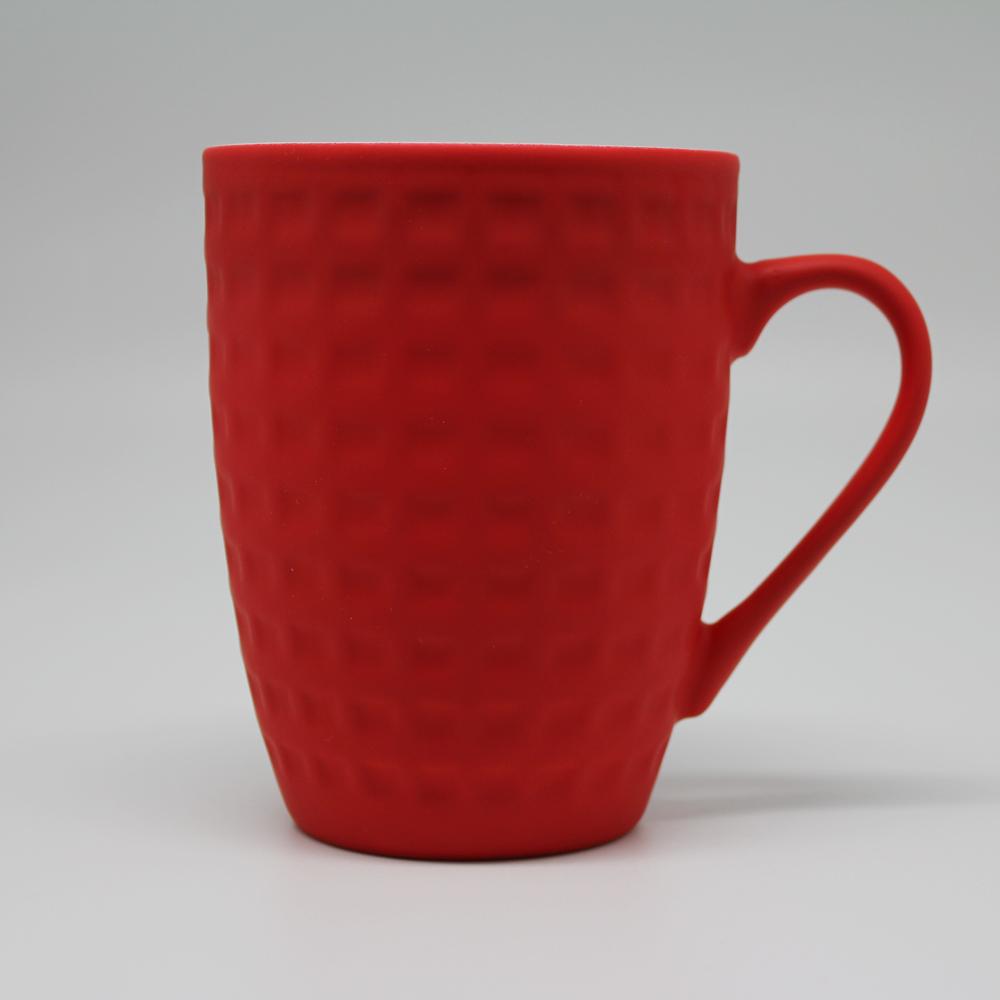 COFESH|格紋半手作時尚紅馬克杯350ml MUL-35-RD