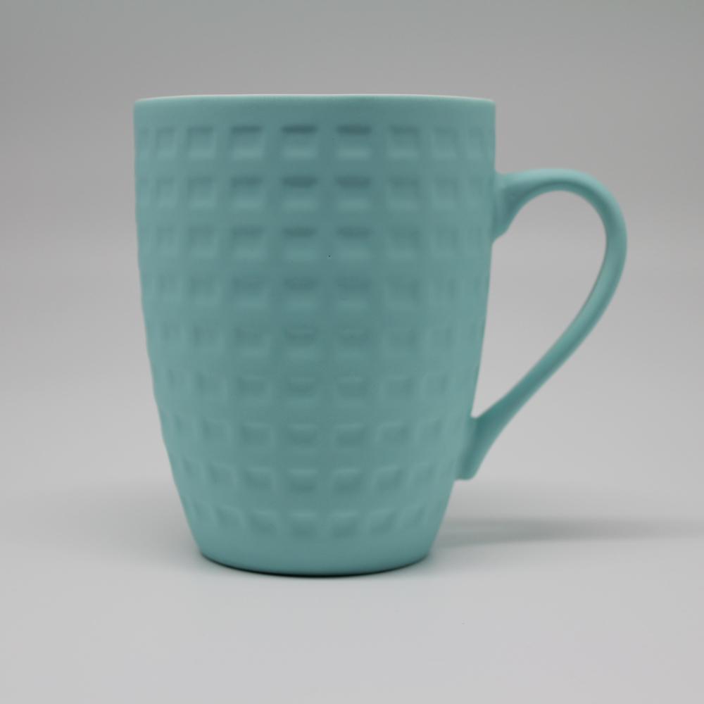 COFESH 格紋半手作天空藍馬克杯350ml MUL-35-GA
