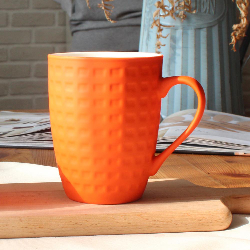 COFESH|格紋半手作柑橙橘馬克杯350ml MUL-35-OE