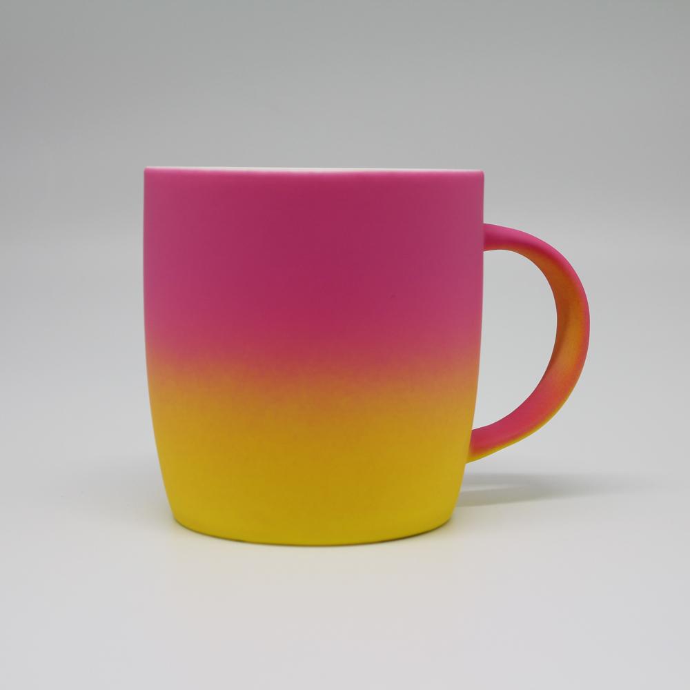COFESH 時尚半手作粉黃雙色漸層馬克杯350ml MUG-35-PY