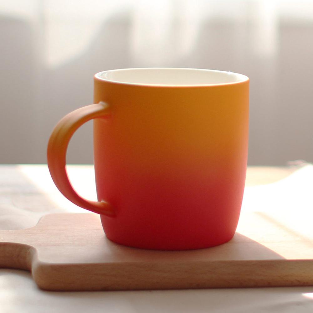 COFESH|時尚半手作橘紅雙色漸層馬克杯350ml MUG-35-GR