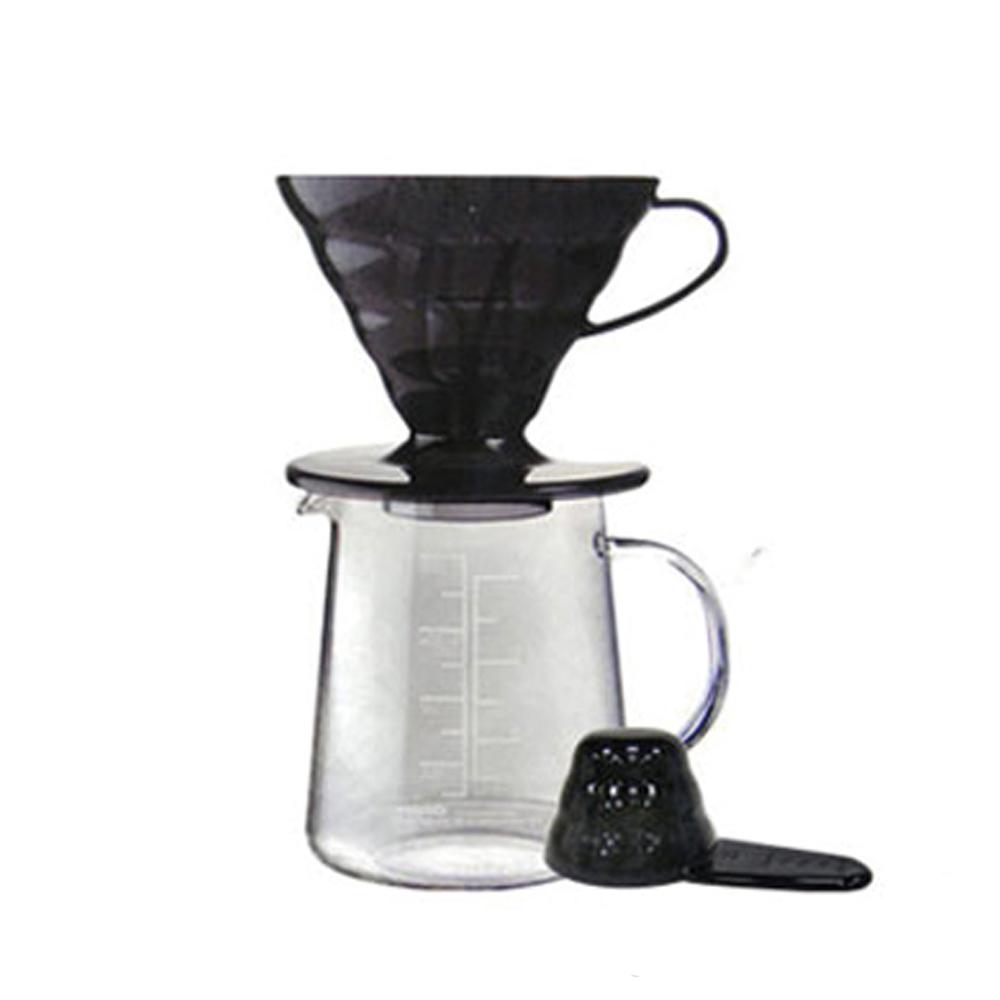 HARIO|V60黑色樹脂濾杯咖啡壺組 ESD-02TB-EX-M