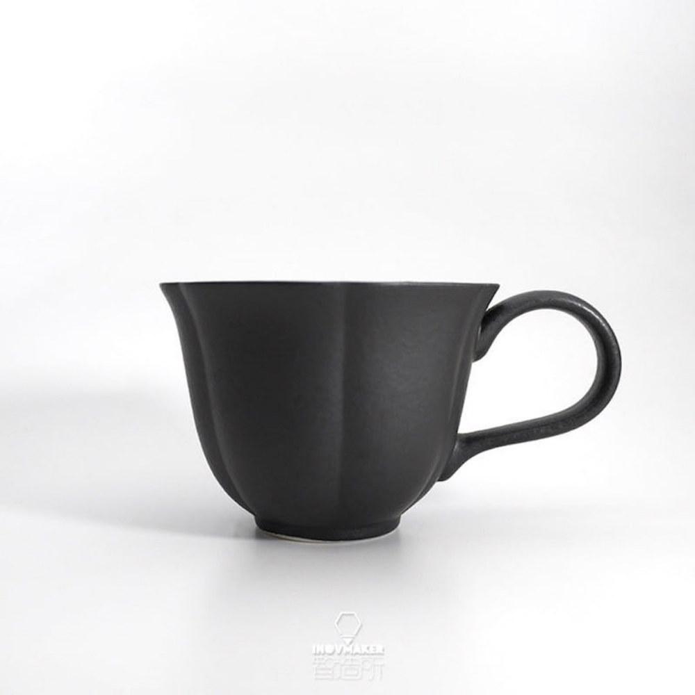 智造所 H.U.A 小花咖啡杯 黑BLACK HUA-CUP-BK