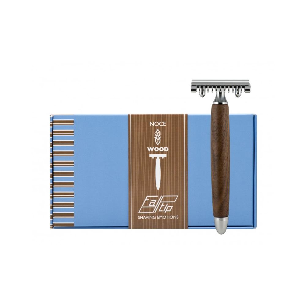 義大利 FATIP | 42114 核桃色木柄安全刮鬍刀 開放刀頭
