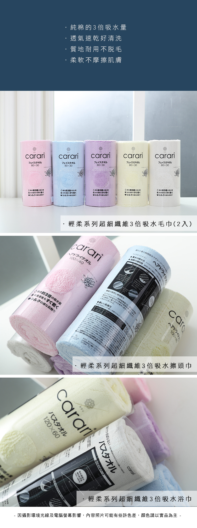 CB Japan|輕柔系列超細纖維3倍吸水擦頭巾 - 甜心藍