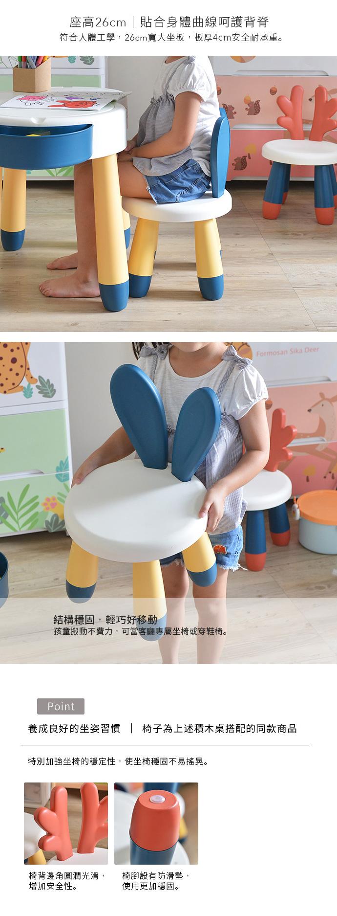 +O家窩|丹尼兔兒童多功能學習/遊戲積木桌椅套組-送台製OK牌積木(1kg)