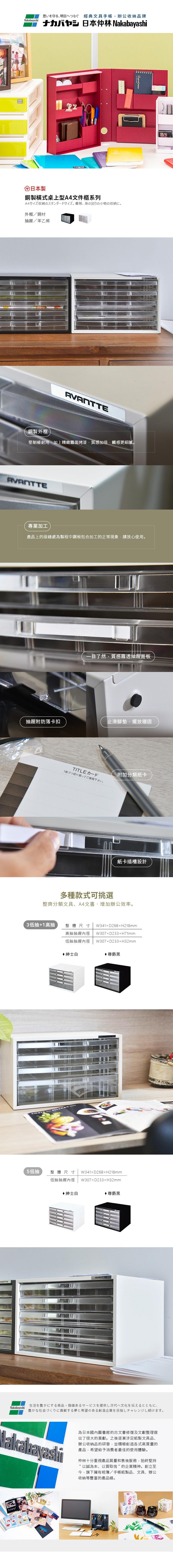 仲林|日本製鋼製橫式桌上型A4文件櫃/資料櫃-3低抽+1高抽