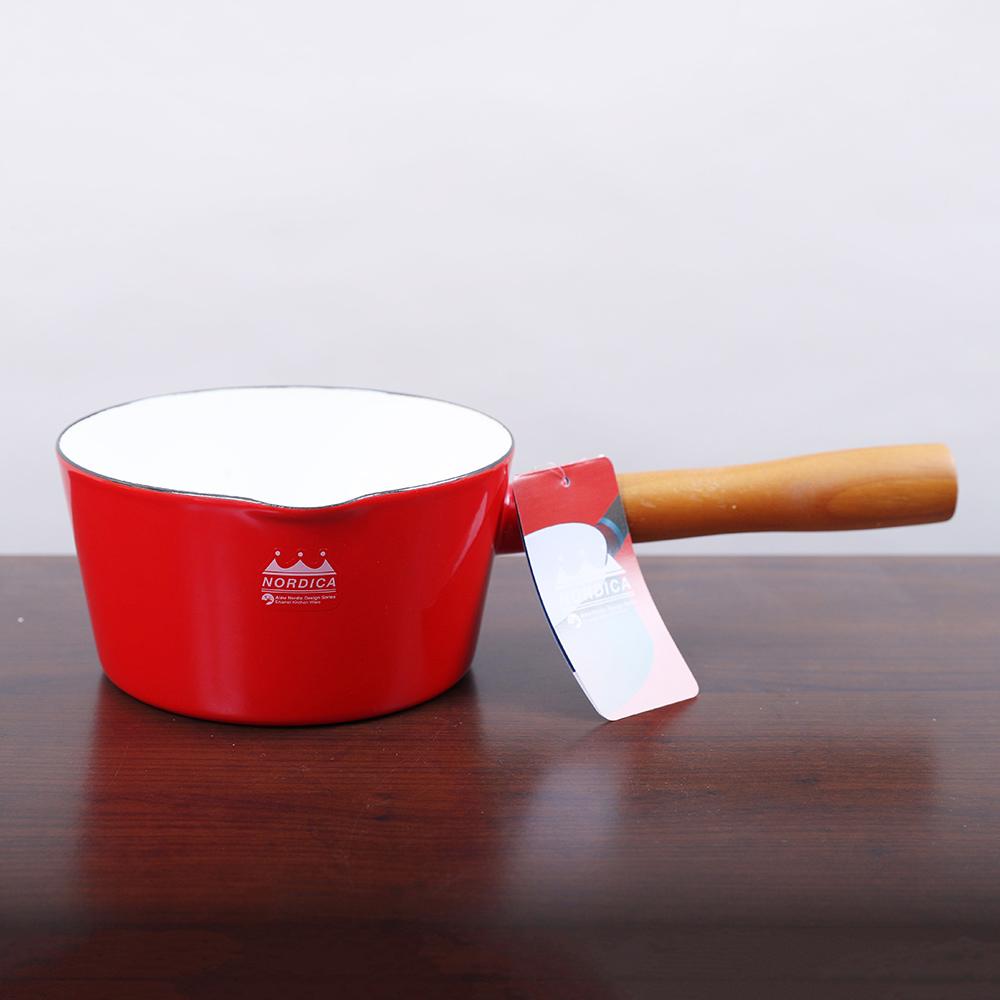CB Japan|北歐系列琺瑯原木單柄牛奶鍋 - 熱情紅