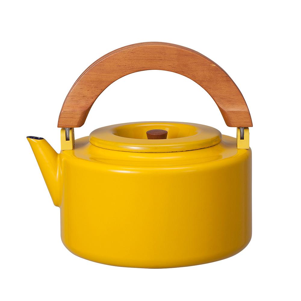 CB Japan|北歐系列琺瑯原木泡茶兩用壺 - 芥末黃