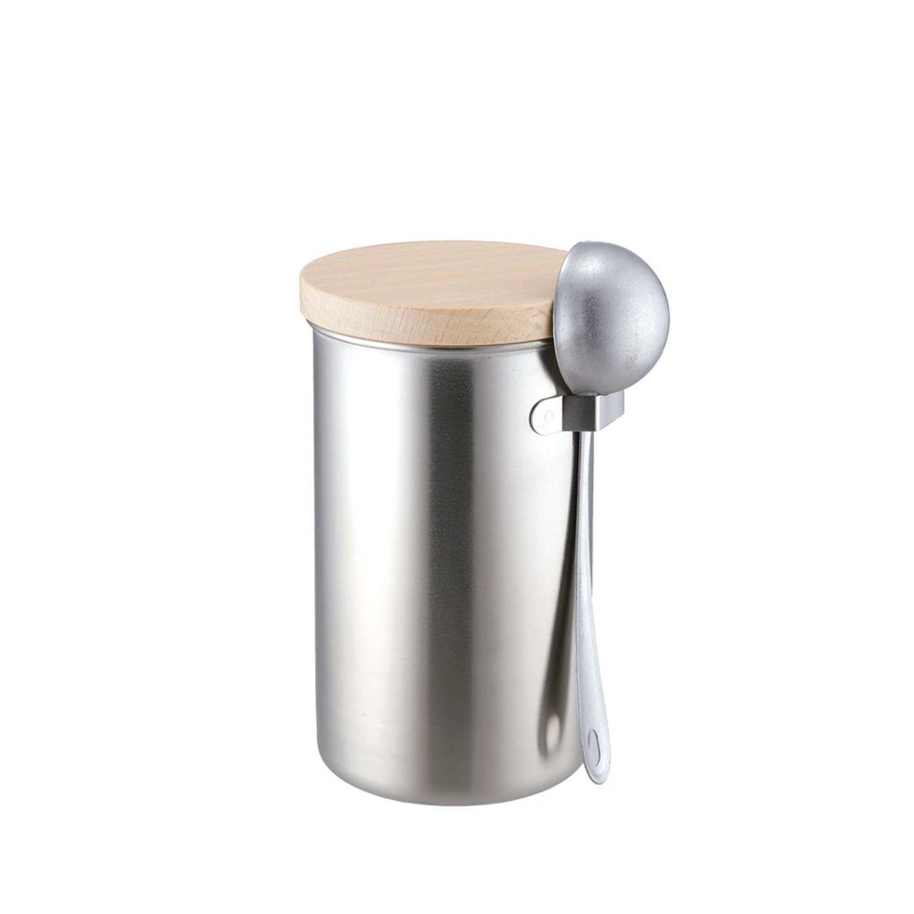 高桑elfin|密封咖啡罐200g附勺組-銀