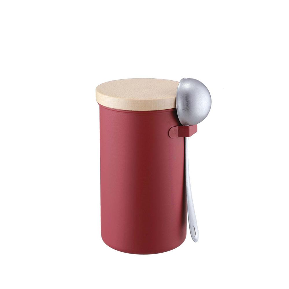 高桑elfin|密封咖啡罐200g附勺組-紅