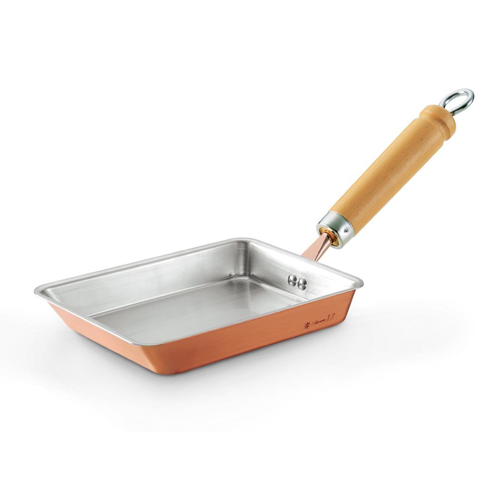 田邊金具|純銅木柄玉子燒鍋-12cm